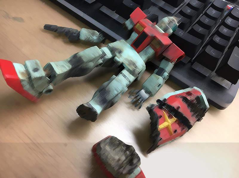【蜗牛娱乐】模型玩家分享战损钢弹制作 网友用鞭炮炸出战损版吉姆